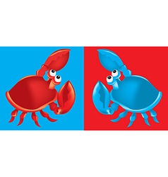 Red and blue crabs on red and blue backgrounds vector