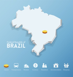 Federal republic of brazil map vector