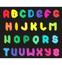 Creative multicolor alphabet set on black vector