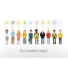 Our creative team of ten people with occupations vector