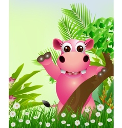 Cute hippo cartoon smiling with tropical forest ba vector
