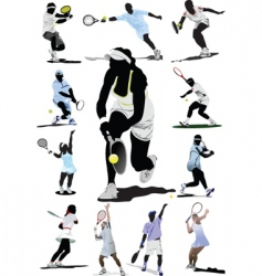 Twelve tennis players vector