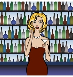 Woman drinking martini vector