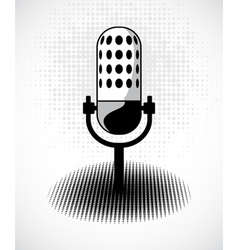 Retro microphone on dots card vector