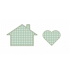 House and heart needlework cute baby style vector
