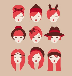 Fashion girls icon set vector