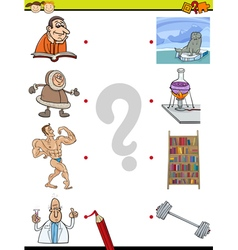 Match elements education game vector