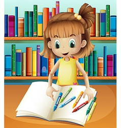 A girl with her empty notebook and crayons vector