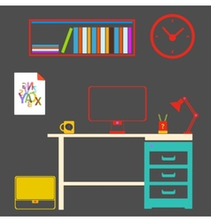 Modern interior room to work and study vector