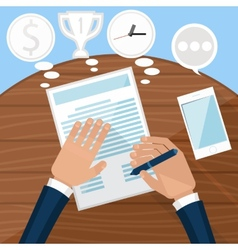 Businessman signs up document vector