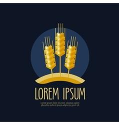 Wheat bread logo design template farm or vector