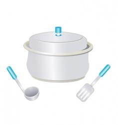 Kitchen pot spoon ladle vector