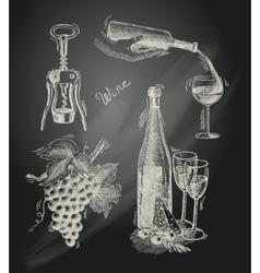 Wine chalkboard decorative set vector