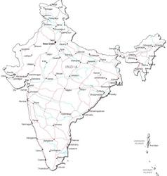India black white map vector