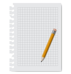 Note book paper with pencil vector