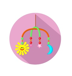 Baby rattle flat icon with long shadow vector