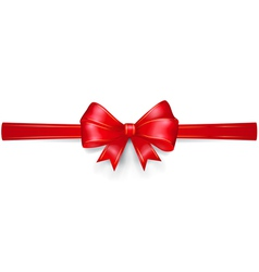 Red bow with gold strips vector
