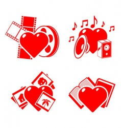Set of the stylised hearts on a hobby theme vector