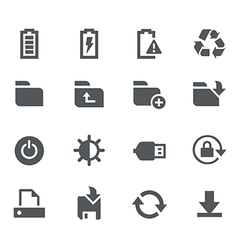 Energy storage and output icons - apps interface vector