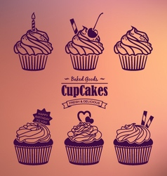 Cupcakes silhouette set vector