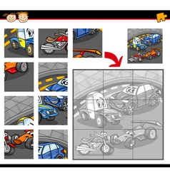 Cars cartoon jigsaw puzzle game vector
