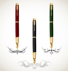 Calligraphy penmanship decorative with fountain vector