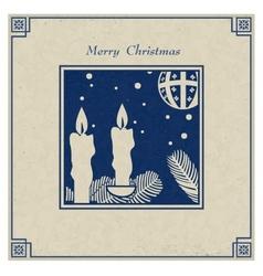 Antique christmas card vector