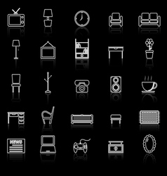 Living room line icons with reflect on black vector