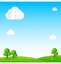 Nature background cloud sky field tree and polygon vector