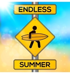 Endless summer yellow road sign on blurred beach vector