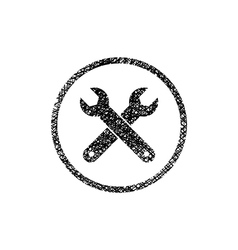 Repair icon with two wrenches symbol with hand vector