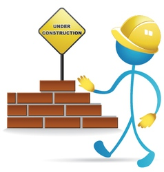 Worker and construction sign vector