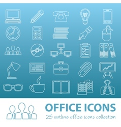 Office outline icons vector