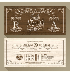 Vintage wedding invitation card border and frame vector