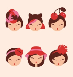 Fashion girls in head accessories icon set vector