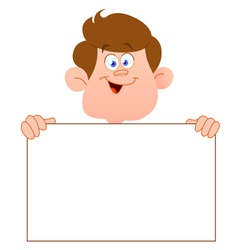 Smiling teenager with sign vector