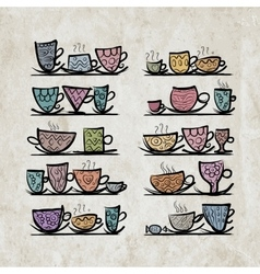 Ornate mugs on shelves grunge background vector