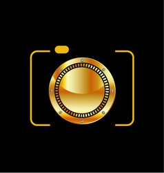 Golden digital camera vector