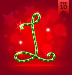 Electric green garland christmas new year abc vector