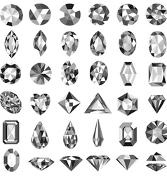 Set of precious stones of different cuts vector