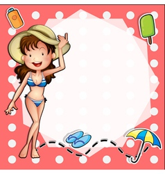 A girl with her summer attire vector