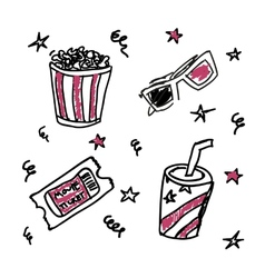 Set of doodle cinema icons vector