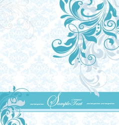 Blue floral invitation card vector