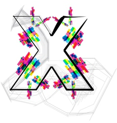 Colorful font - letter x vector