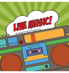 Musical background with retro boom-box vector