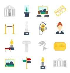 Museum icons flat vector