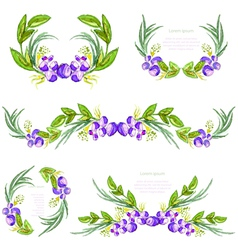 Watercolor floral design elements vector
