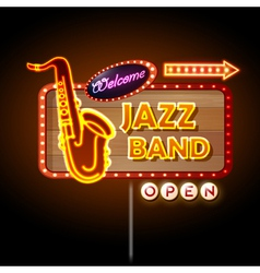 Neon sign jazz band vector