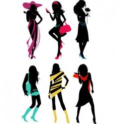 Glam shopping girls vector