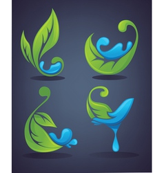 Green leaves and water drops vector